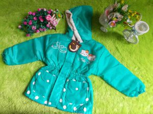 jaket anak battita waterproof anti air hello kitty hijau