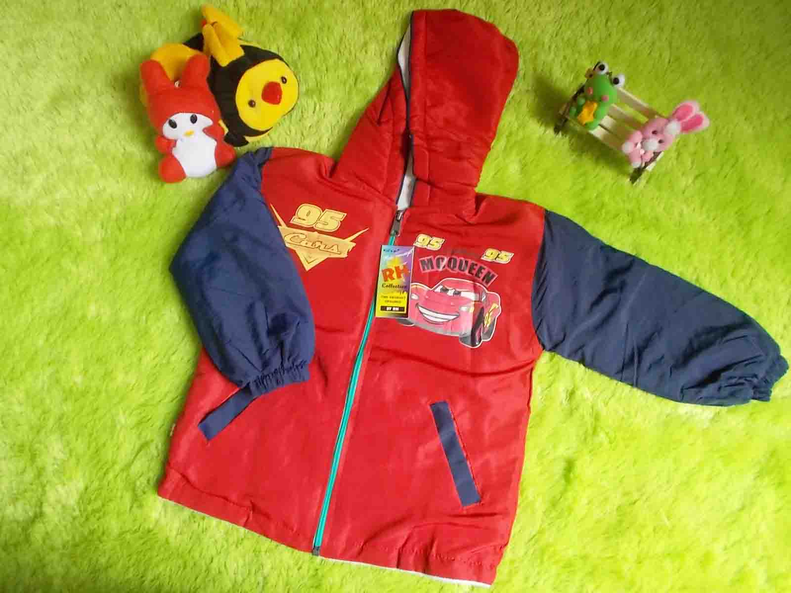 jaket anak bayi batita waterproof anti air 2-3th cars mcqueen merah 50 lebar dada 35cm panjang 39cm