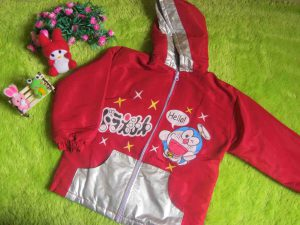 jaket anak bayi balita 3-4th waterproof doraemon merah