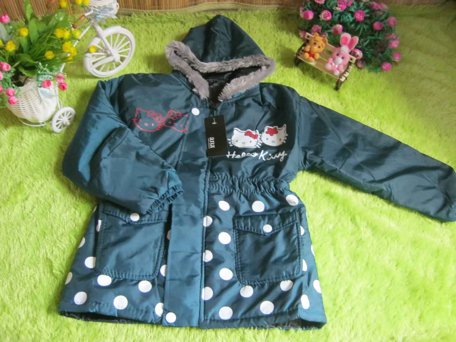 Jaket Anak Batita Anti Air Waterproof Hello Kitty Hijau Tosca 50 muat untuk usia 2-3th