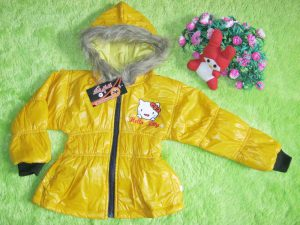 Jaket waterproof serut bayi Hello Kitty Kuning