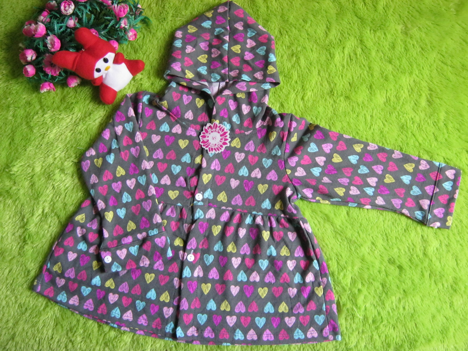 Jaket Bayi Girly 3 4thn Big Love Cantik Jumper Kancing Depan