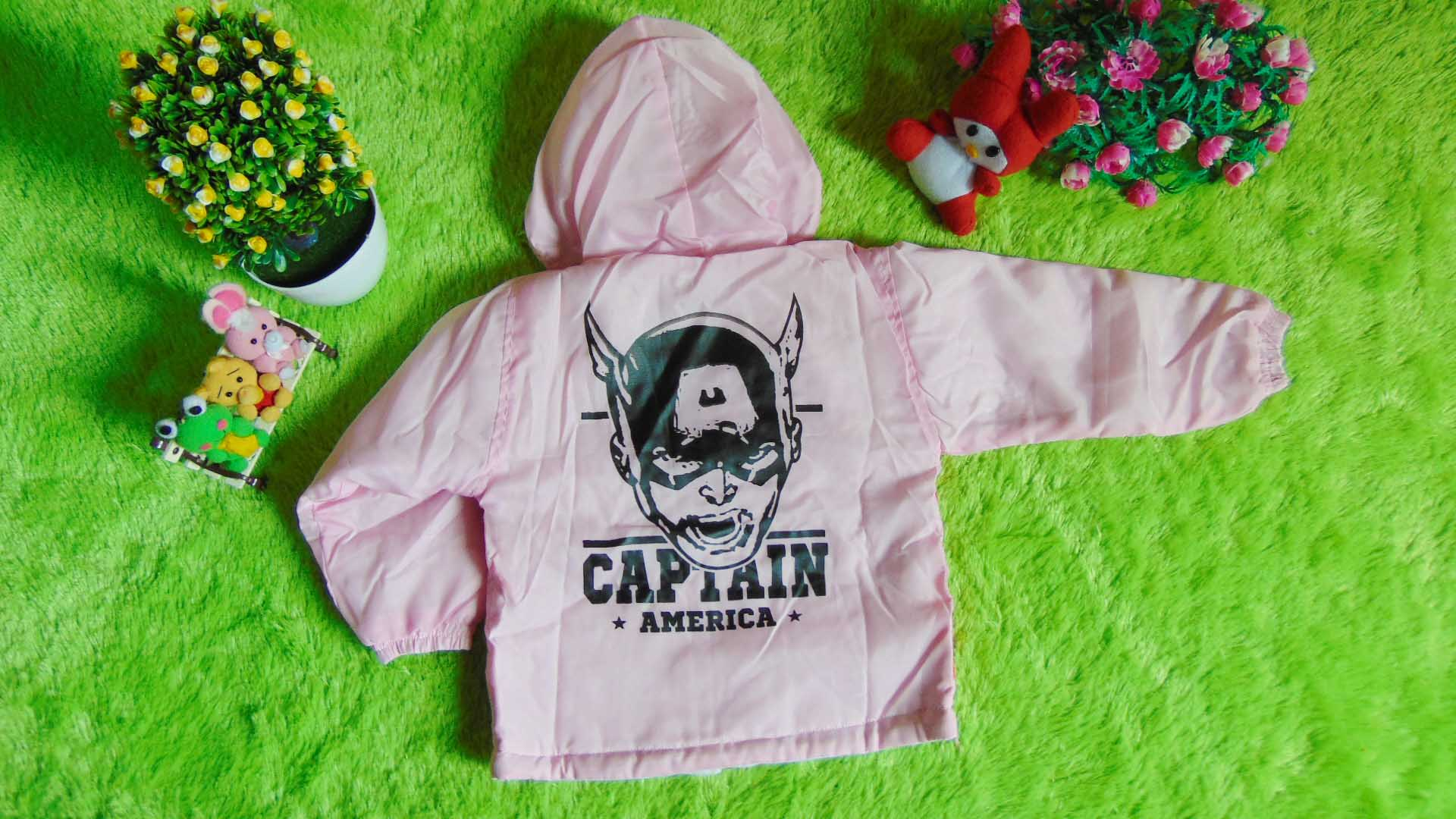 jaket bayi 0-2th waterproof - jaket anti air captain america pink 55 lebar dada 32cm,panjang ke bawah 34cm (1)