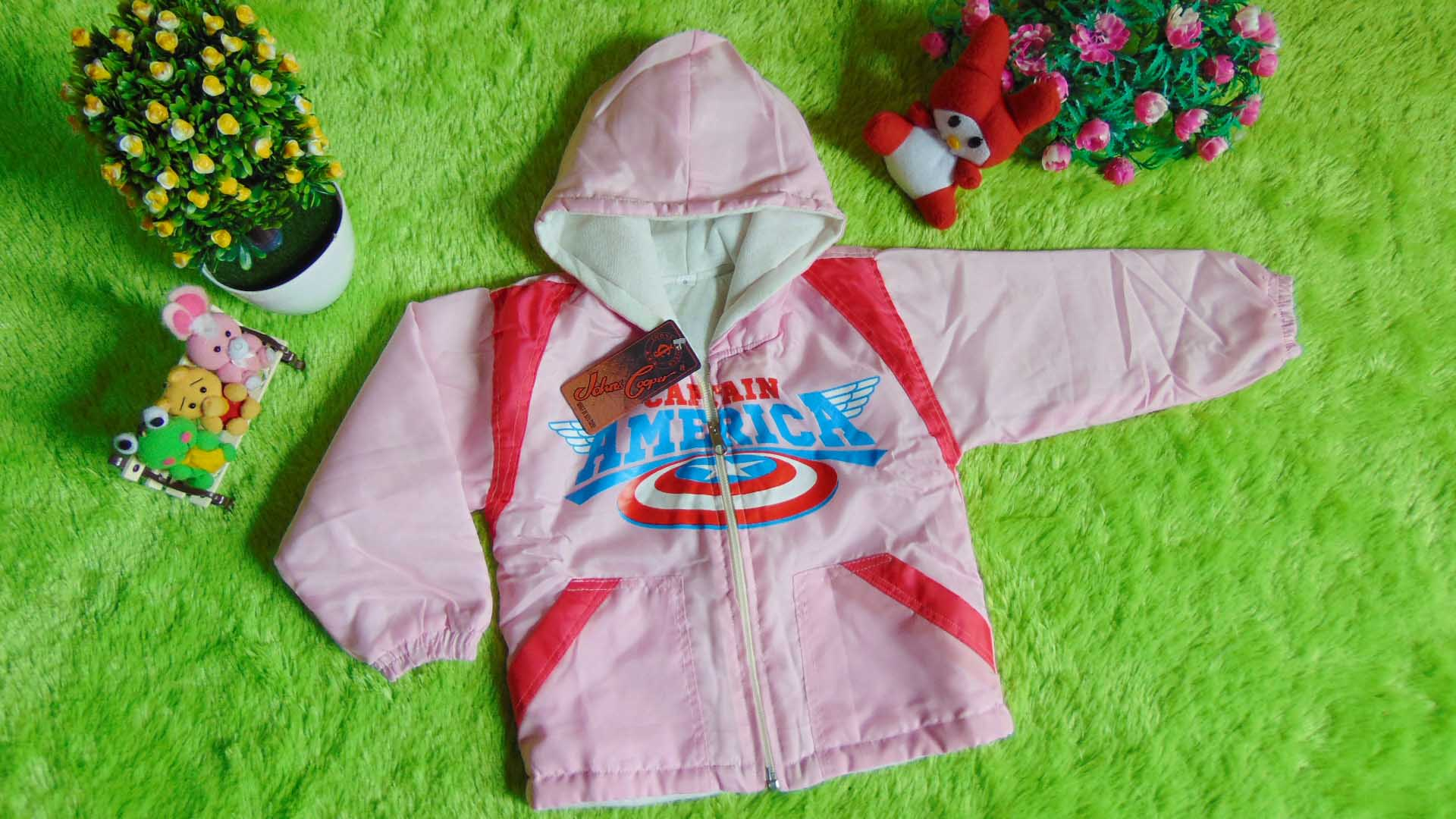 jaket bayi 0-2th waterproof - jaket anti air captain america pink 55 lebar dada 32cm,panjang ke bawah 34cm (2)