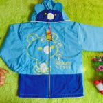 Jaket Anak 4-5th Anti Air Waterproof Rilakuma Biru Muda