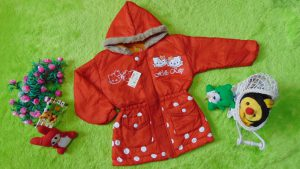 Jaket Anak 3-4th Anti Air Waterproof Hello Kitty Orange