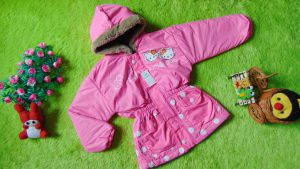 Jaket Anak 3-4th Anti Air Waterproof Hello Kitty Pink Neon