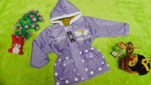Jaket Anak 3-4th Anti Air Waterproof Hello Kitty Ungu Dusty