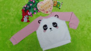 Jaket baju hangat sweater batita perempuan girl sweatshirt 2-3th branded place bulu panda